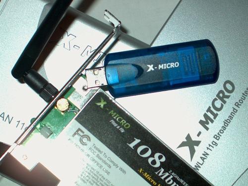 X micro wlan 11g pci card