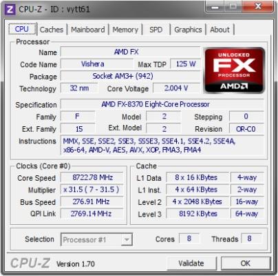AMD FX-8370 8722,78 MHz-en