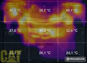 Az X-X Gamer i860 burkolatának hőmérséklete terhelés közben
