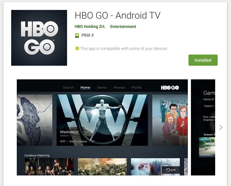 HBO GO for AndroidTV in EU region : AndroidTV